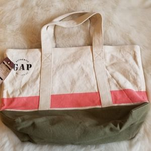 Gap Utility Tote Heavy Canvas Off White Pink Tan